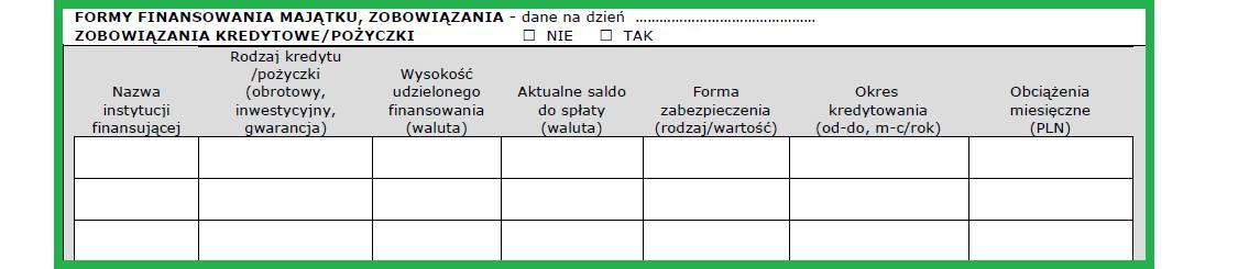 Altera - Jak wypełnić wniosek o leasing - Podaj szczegóły posiadanych zobowiązań kredytowych i pożyczek