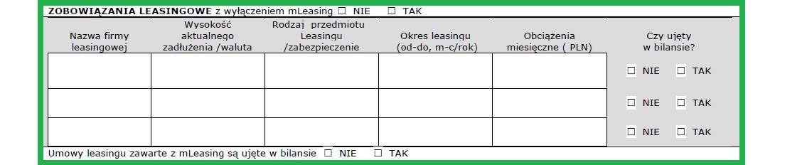 Altera - Jak wypełnić wniosek o leasing - Podaj szczegóły posiadanych zobowiązań leasingowych
