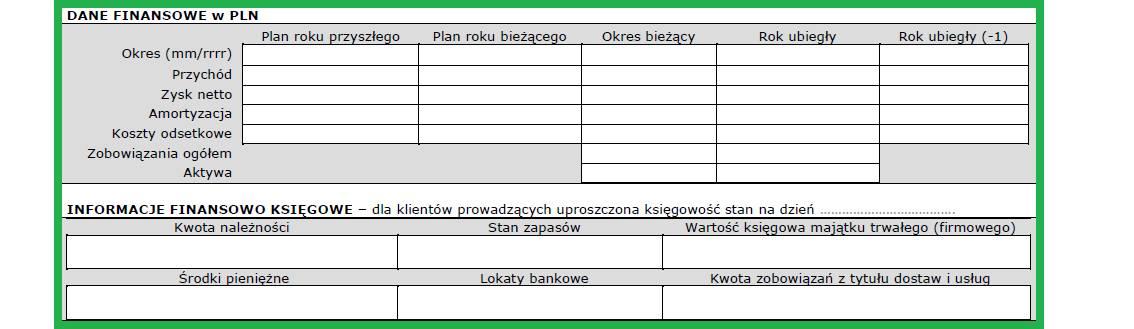 Altera - Jak wypełnić wniosek o leasing - Wpisz wymagane dane finansowo- księgowe firmy