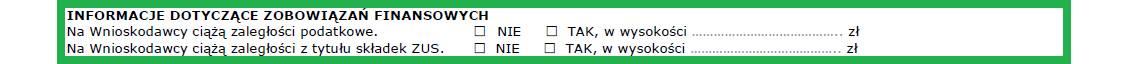 Altera - Jak wypełnić wniosek o leasing - Wskaż czy firma posiada zaległości z tytułu podatków lub składek ZUS