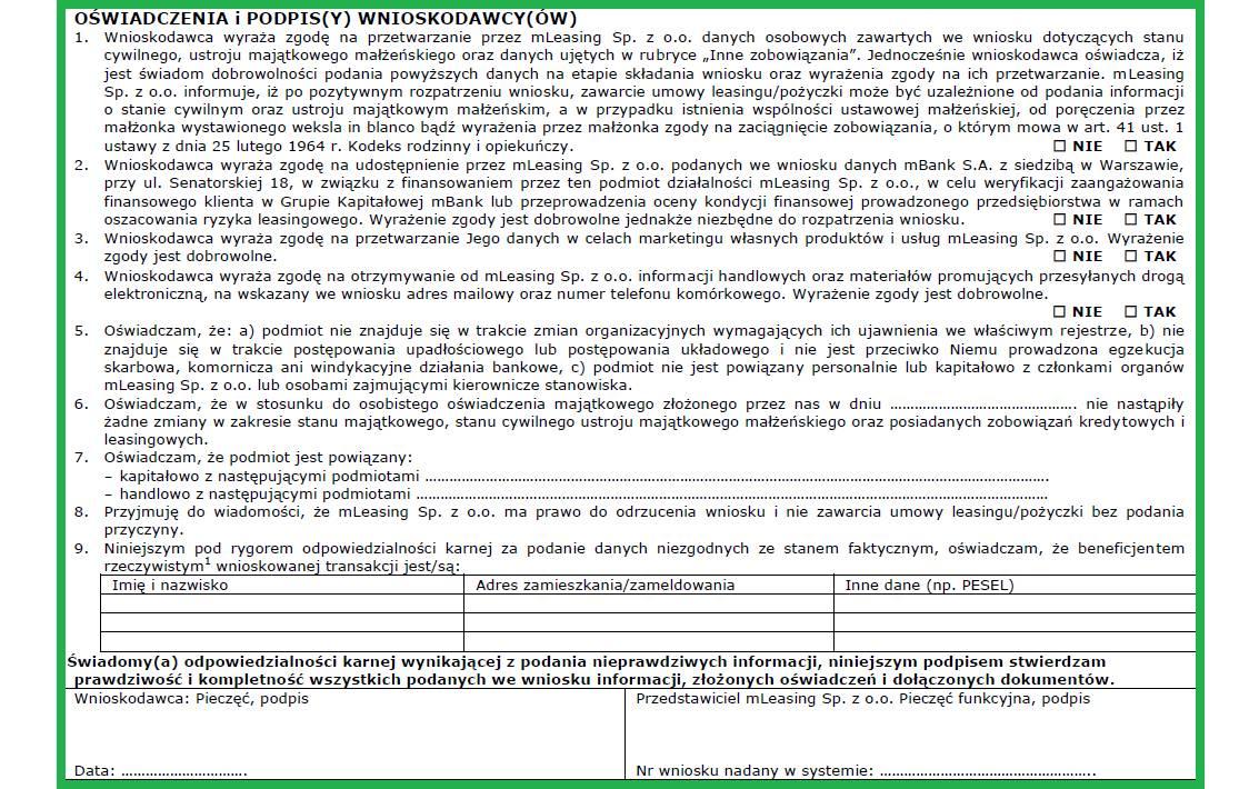 Altera - Jak wypełnić wniosek o leasing - Złóż wymagane oświadczenia i podpisz wniosek