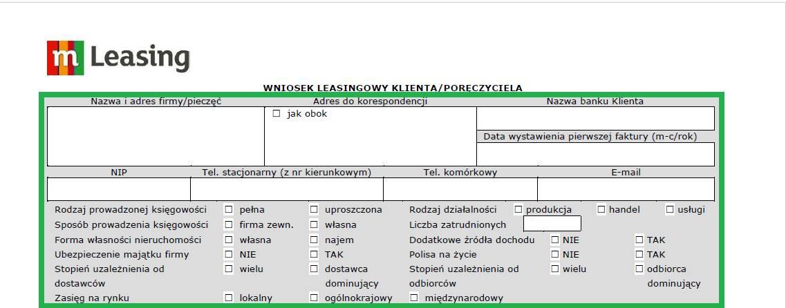 Altera - Jak wypełnić wniosek o leasing - podstawowe dane dotyczące firmy