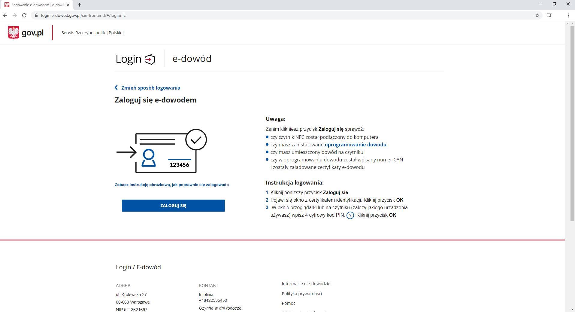 E-dowód czytnik NFC strona startowa