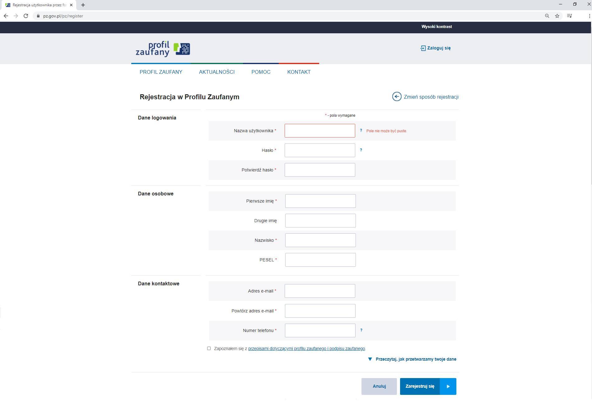 Rejestracja Profilu Zaufanego poprzez Wniosek online