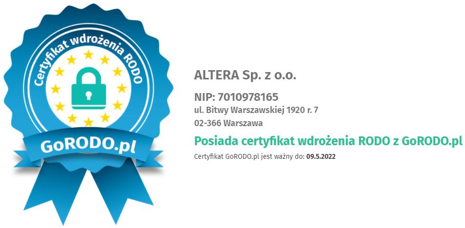 GoRODO certyfikat