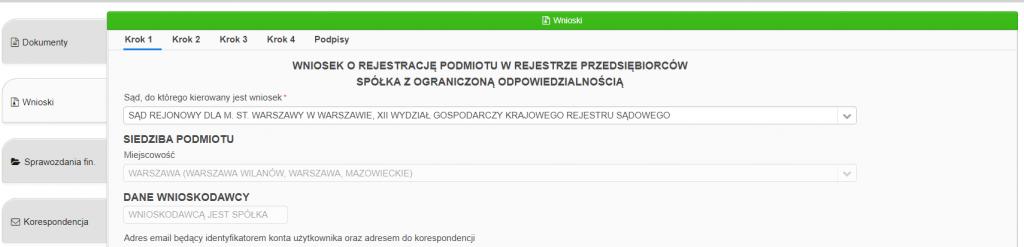 Jak założyć firmę przez internet (system S24) - Złożenie wniosku o rejestrację spółki 3