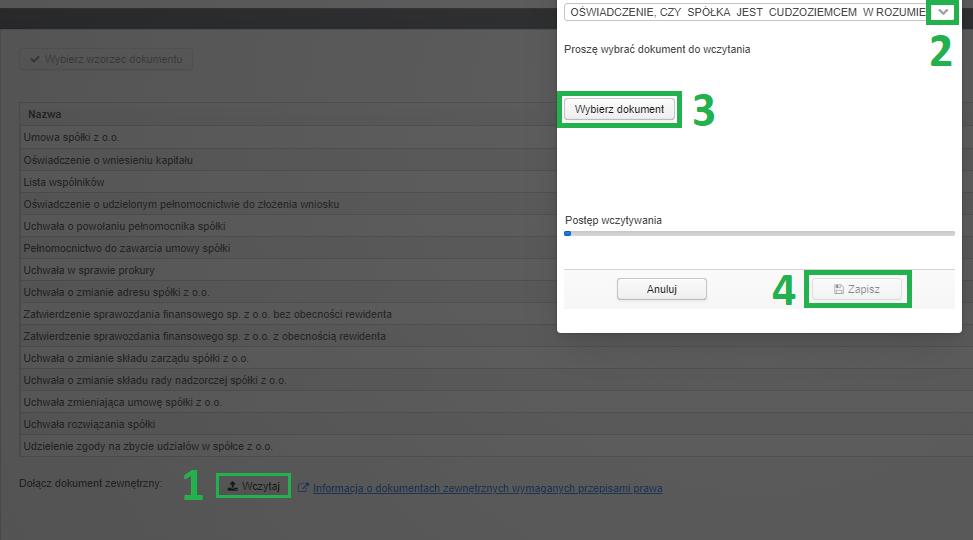 Jak założyć firmę przez internet (system S24) - wgranie dokumentów