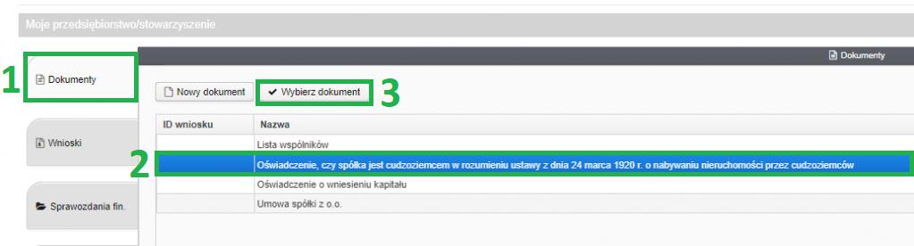 Jak założyć firmę przez internet (system S24) - zakładka dokumenty