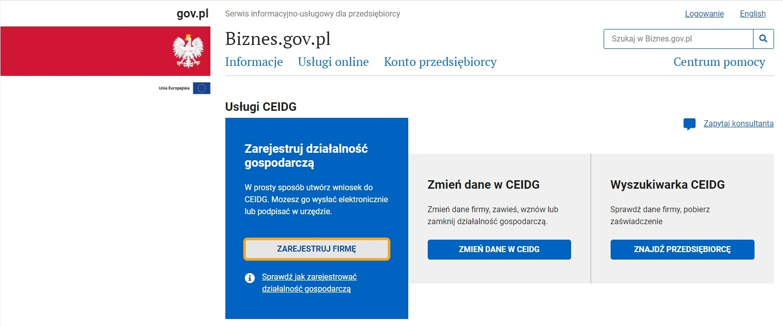 Jak założyć jednoosobową działalność gospodarczą przez internet (wniosek o wpis do CEIDG)