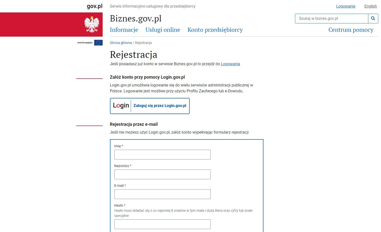 Rejestracja przez e-mail w celu założenia jednoosobowej działalności gospodarczej online