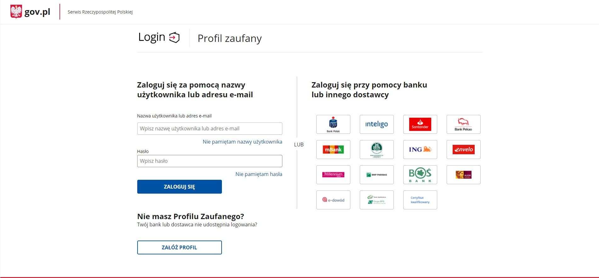Wybór formy logowania w celu założenia firmy przez internet