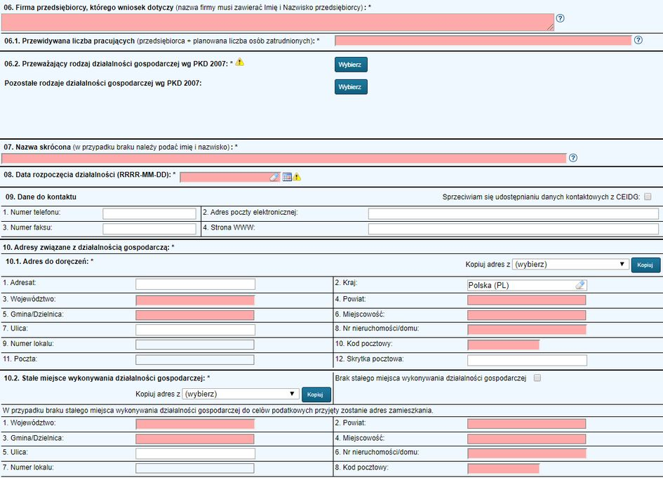 Założenie firmy w CEIDG online - Dane firmy