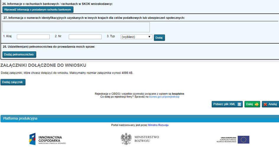Założenie firmy w CEIDG online - Dodatkowe dane